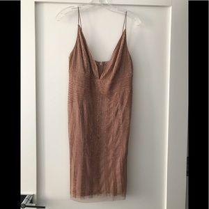 Adrianna Papell Beaded Blush dress size 8
